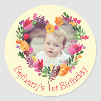 Watercolor Floral Heart Baby 1st Birthday Photo Round Sticker