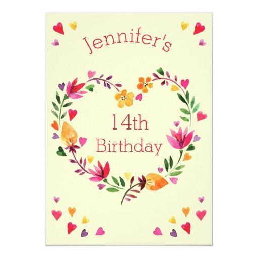 Watercolor Floral Heart Wreath Girl 14th Birthday 13 Cm X