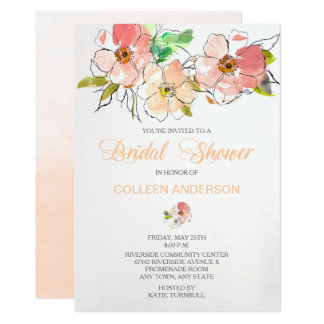 Watercolor Floral Impression Bridal Shower Invite