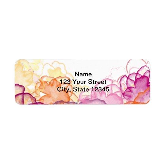 Watercolor Floral in Pink, Purple, and Orange Return Address Label