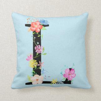 Watercolor Floral letter L Cushion
