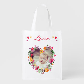 Watercolor Floral Love Hearts Wreath Photo Reusable Grocery Bag