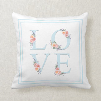 Watercolor Floral Love in Bloom Typography Cushion