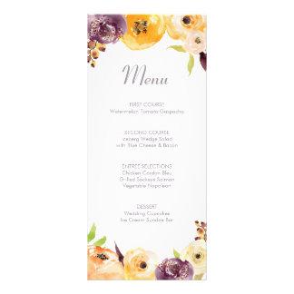 Watercolor Floral Menu Personalized Rack Card