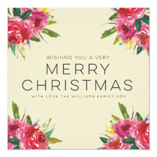 Watercolor Floral Merry Christmas Script Cards