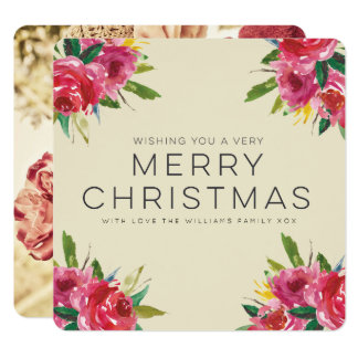 Watercolor Floral Merry Christmas Script Photo Card