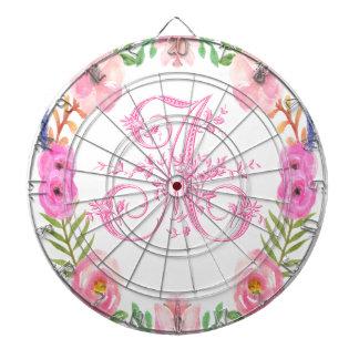 Watercolor Floral Monogram Letter A Dart Boards