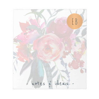 Watercolor floral monogrammed copper circle classy notepad