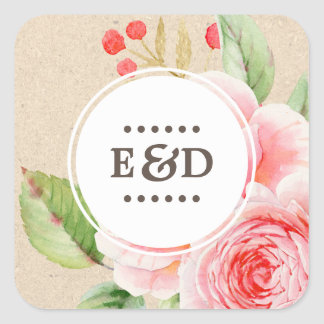 Watercolor Floral |  Monograms Wedding Stickers