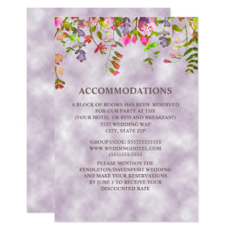 Watercolor Floral on Lavender Accommodations Card