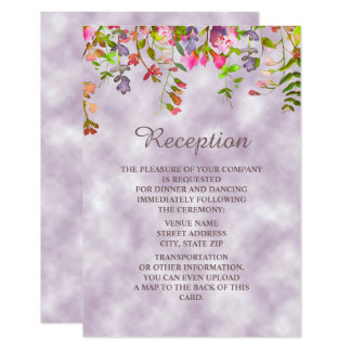 Watercolor Floral on Lavender Wedding Reception Card