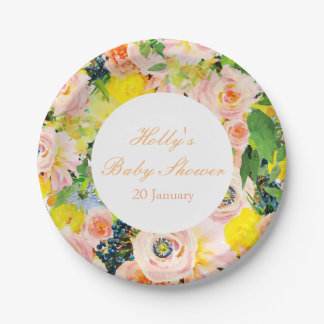 Watercolor Floral Party Paper Plates
