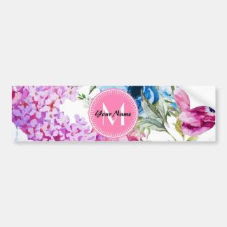 Watercolor Floral Pattern Custom Pink Monogram Bumper Sticker