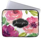Watercolor Floral Pattern Monogrammed Laptop Sleeve