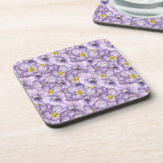 Watercolor floral pattern with violet pansies coaster