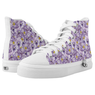 Watercolor floral pattern with violet pansies high tops