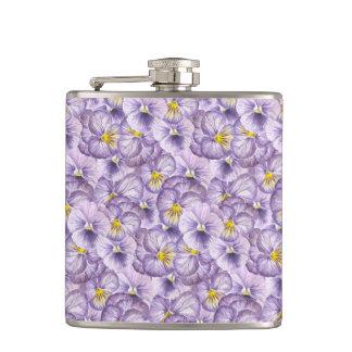 Watercolor floral pattern with violet pansies hip flask