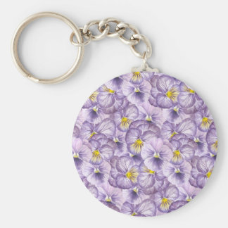 Watercolor floral pattern with violet pansies key ring