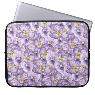 Watercolor floral pattern with violet pansies laptop sleeve
