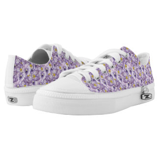 Watercolor floral pattern with violet pansies low tops