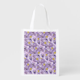 Watercolor floral pattern with violet pansies reusable grocery bag