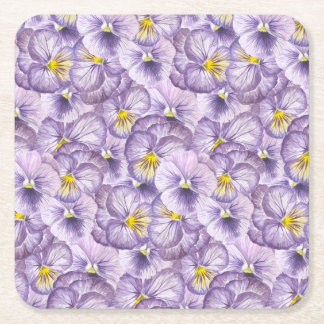 Watercolor floral pattern with violet pansies square paper coaster