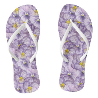 Watercolor floral pattern with violet pansies thongs