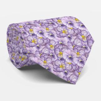 Watercolor floral pattern with violet pansies tie