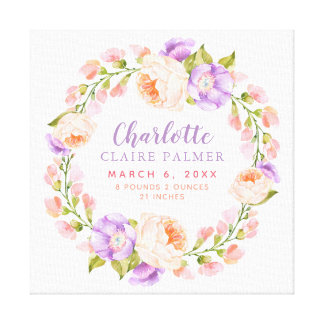 Watercolor Floral Personalized Baby Birth Stats Canvas Print