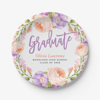Watercolor Floral Personalized Graduation Party Paper Plate