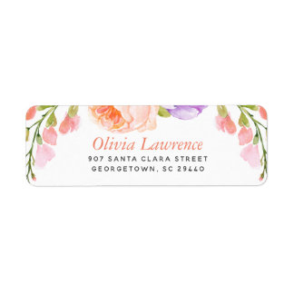Watercolor Floral Personalized Return Address Return Address Label