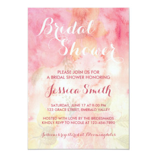Watercolor Floral Pink Bridal Shower Invitation