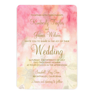 Watercolor Floral Pink Formal Wedding Invitation