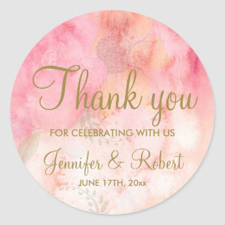 Watercolor Floral Pink Gold Thank You Sticker