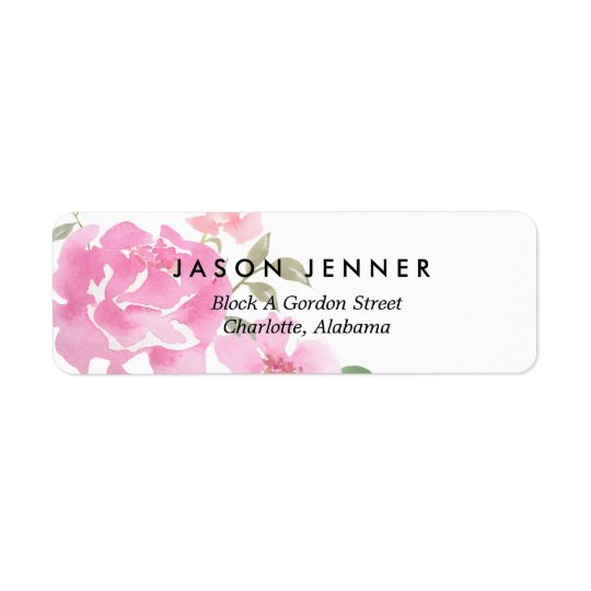Watercolor Floral Pink Peonies Wedding Chic Return Address Label