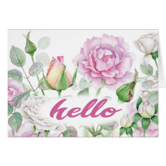 watercolor floral pinks hello card