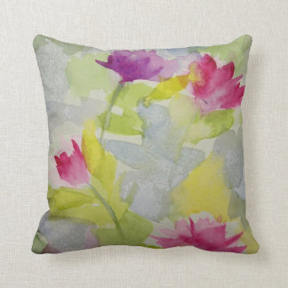 Watercolor Floral Polyester Pillow