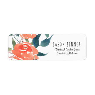 Watercolor Floral Red Rose Wedding Chic Return Address Label