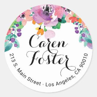 Watercolor Floral Return Address Invitation Labels