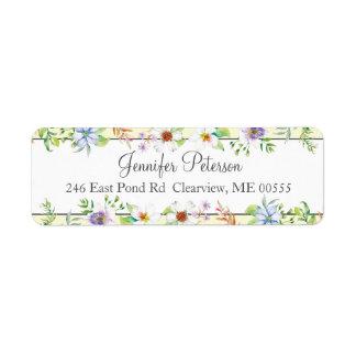 Watercolor Floral Return Address Label