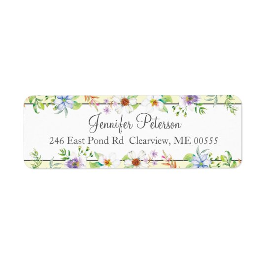 Watercolor Floral Return Address Label