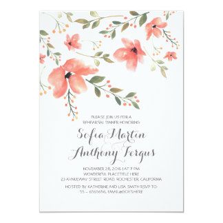 Watercolor Floral Romantic Rehearsal Dinner 13 Cm X 18 Cm Invitation Card