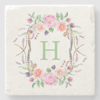 Watercolor Floral Roses Berries Bouquet Stone Coaster