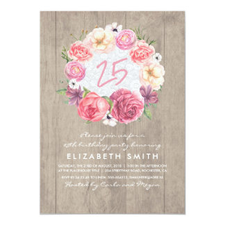Watercolor Floral Rustic Wood Birthday Party Card