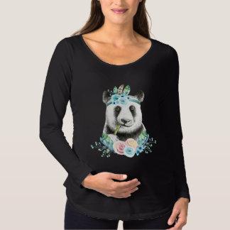 Watercolor Floral Spray Boho Panda Maternity T-Shirt