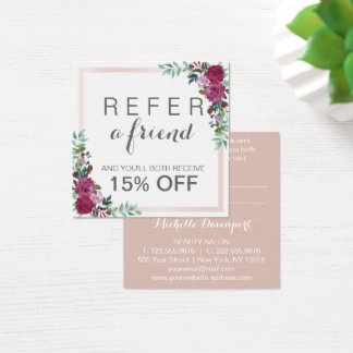 Watercolor floral square elegant referral card
