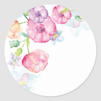 Watercolor floral sticker
