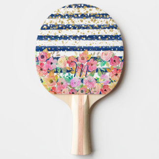 Watercolor floral stripes and confetti design ping pong paddle