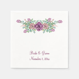 Watercolor Floral Succulent Wedding Paper Napkins