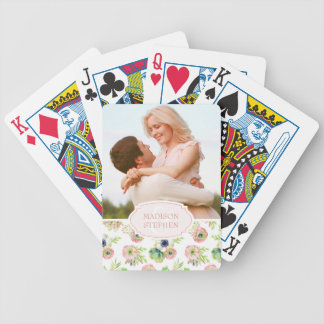 Watercolor Floral & Succulents - Wedding Photo Bicycle Playing Cards